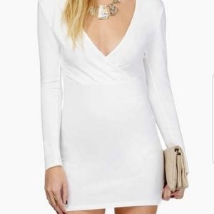 Tobi White Form Fitting Long Sleeve Mini Dress
